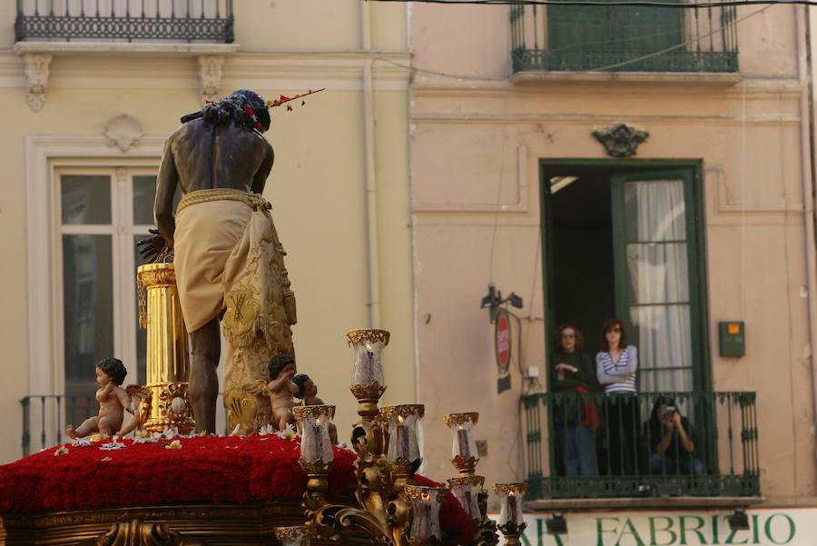 El Cristo de la Columna, en su procesión del Lunes Santo.