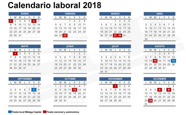 Calendario Diciembre 2018 Con Festivos.Calendario Laboral 2018 Festivos Puentes Y Macropuentes De