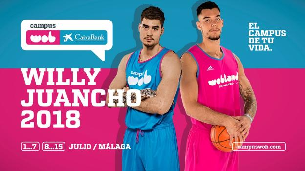 Cartel del campus con Juancho y Willy Hernángomez. /SUR