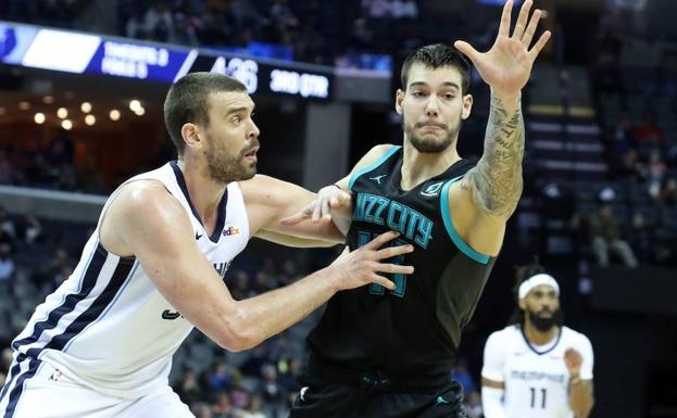 Marc Gasol defiende a Willy Hernangómez.
