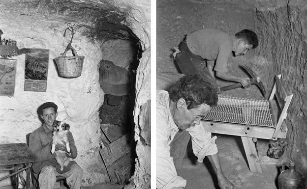 Arroyo Aceiteros. Interior de cueva destinada a vivienda y corral, izquierda; excavación en la pared arcillosa del monte para construir una nueva vivienda. Ambas imágenes fueron tomadas en el mismo reportaje fotográfico, noviembre 1954.